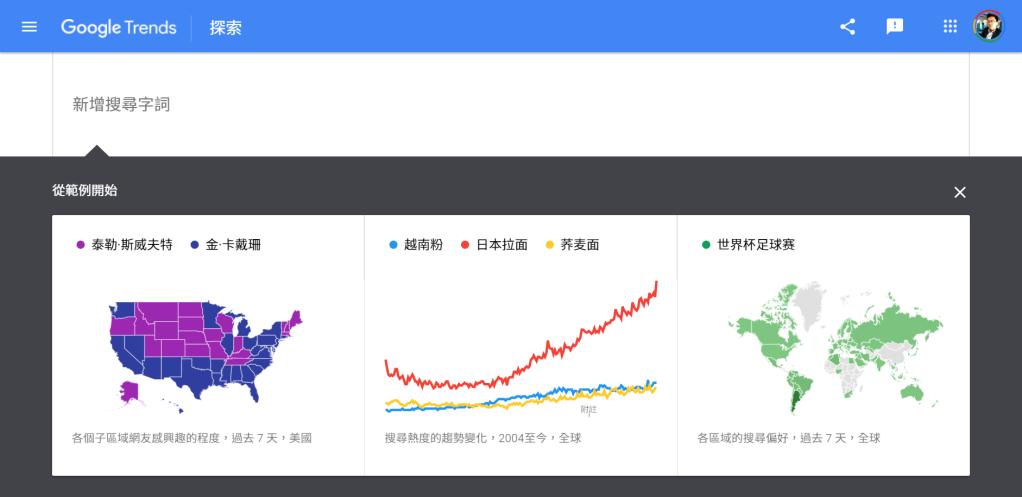 Google trend, Google搜尋趨勢